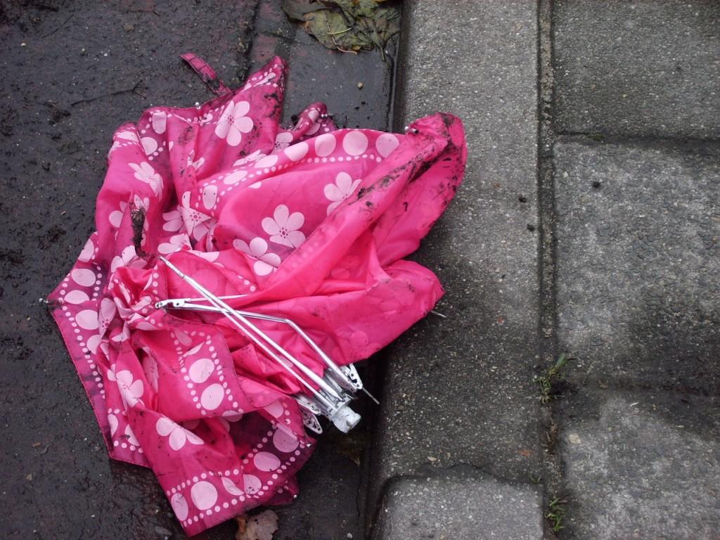 roze in goot